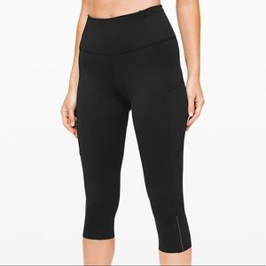 "Fast and Free Crop II 19"" Nulux Black Lululemon"